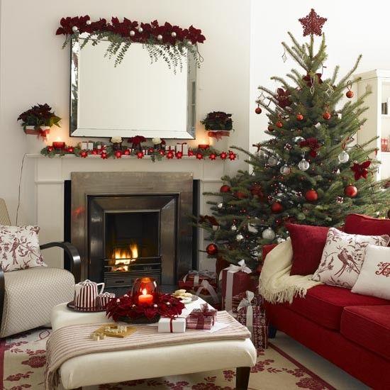 Wohnzimmer Weihnachtlich Dekorieren Rot Weiss Weihnachtssterne