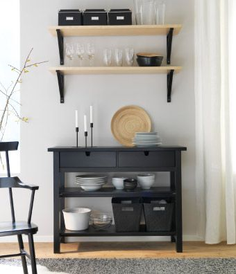 "Black sideboard and wall shelves in birch veneer/black The perfect table for a ""coffee barista"" #IKEA #Pin to Win"