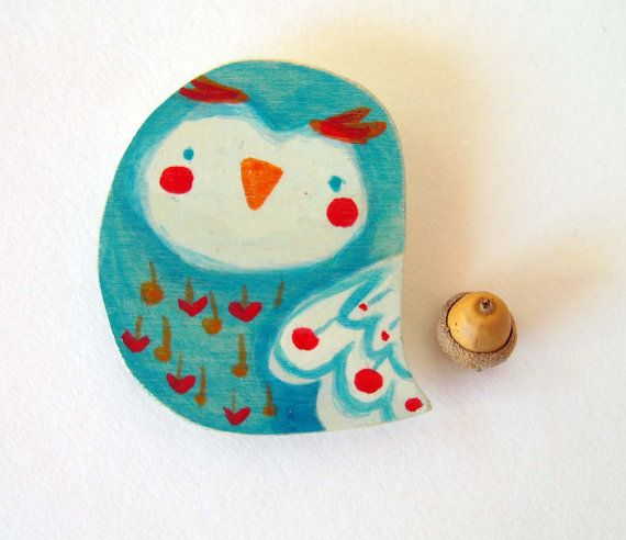 funny owl wooden magnet for your fridge hand made by violinoviola, $10.00