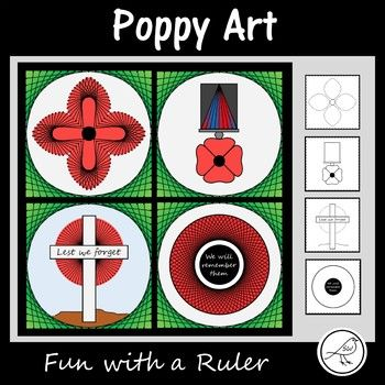 A Fun with a Ruler art project for your students to complete leading up to Remembrance Day / Memorial Day / Armistice Day / Anzac Day.This project involves your students ruling straight lines between 2 dots on a template, to create poppy inspired art  wreath, cross, medal and poppy.Included:   Template  black dots  Example  black/white and colour  InstructionsLevel of Difficulty: Your students need to be able to use a ruler to draw straight lines between 2 points (even the curves are made…