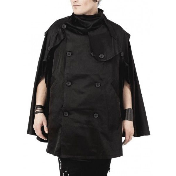 This unisex poncho cape jacket for men and women is from the newest Queen of Darkness goth clothing collection and inspired by military coats.