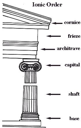IONIC ORDER Ionic shafts were taller than Doric ones. This makes the columns look slender. They also had flutes, which are lines carved into them from top to bottom.