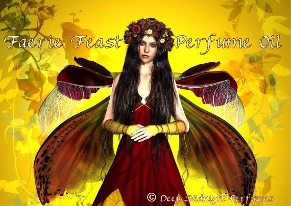 FAERIE FEAST Perfume Oil by DeepMidnightPerfumes, $16.00   White amber, dried leaves, pumpkin, laurel, spices, toasted sugar, cream, HALLOWEEN Perfume, Autumn Fragrance