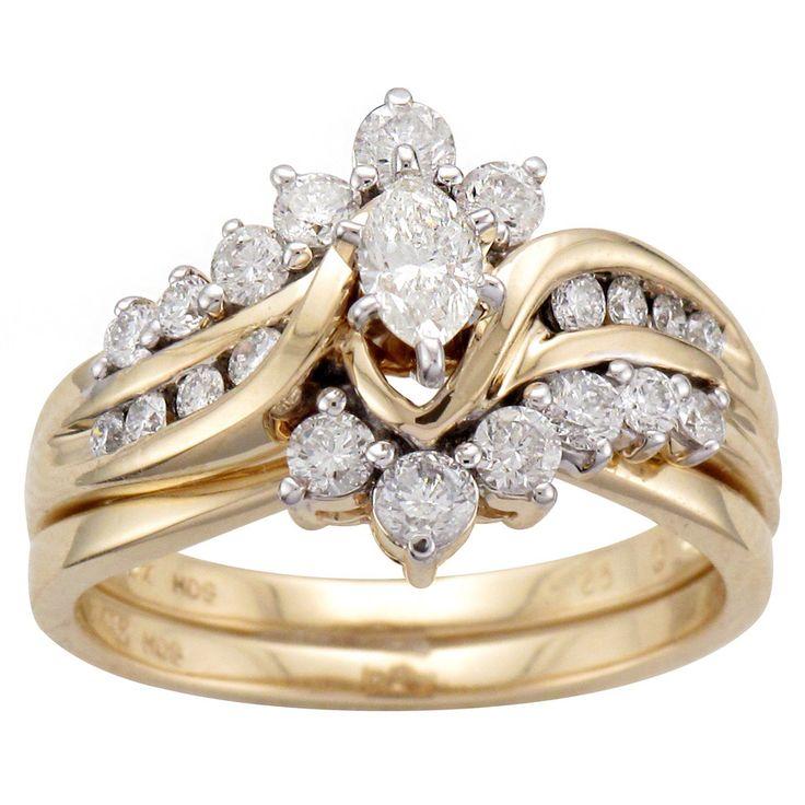 <li>Marquise and round diamond bridal ring set</li><li>14-karat yellow gold jewelry</li><li><a href='http://www.overstock.com/downloads/pdf/2010_RingSizing.pdf'><span class='links'>Click here for ring sizing guide</span></a></li>