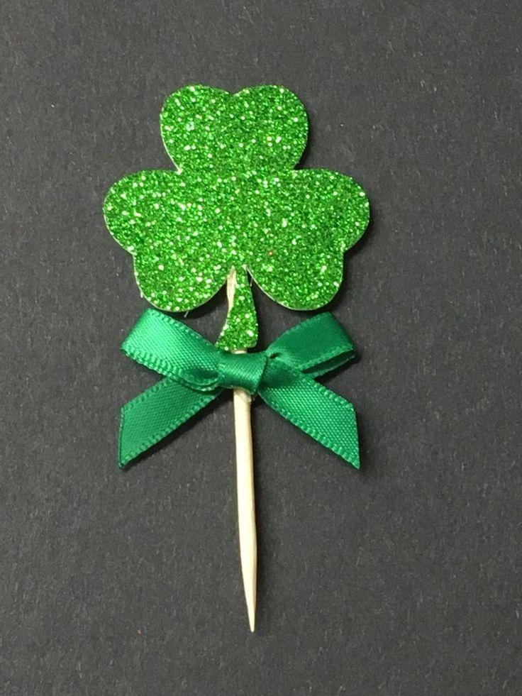12 Shamrock St Patricks Day Green Glitter Cake Pick Topper Sparkly Decoration