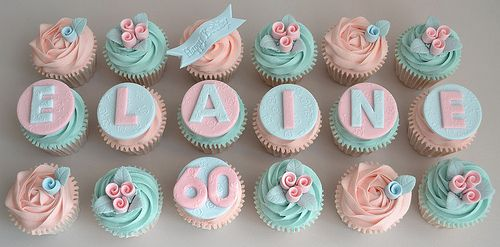 Vintage 60th Birthday Buttercream cupcakes,definitely going to suggest this to a client , let the cupcakes tell a story...