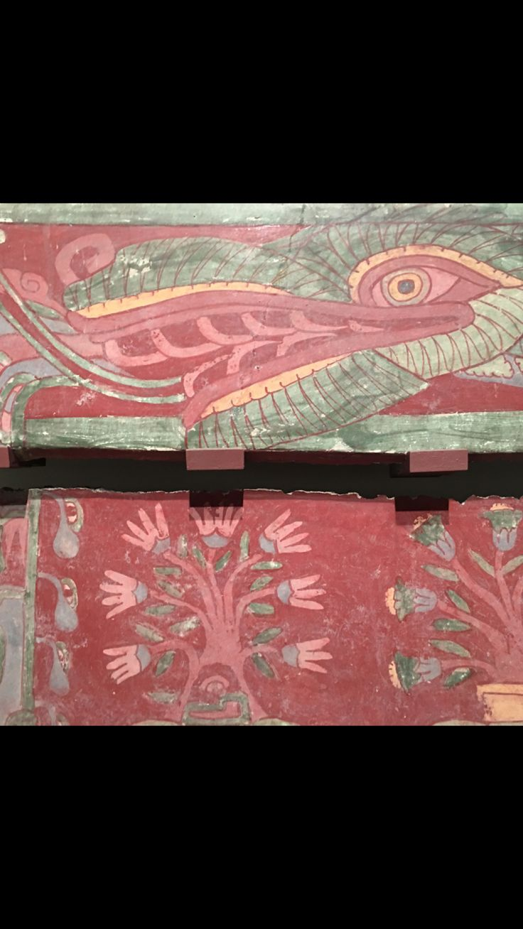 Murals from Teotihuacan ancient Aztec city in Mexico