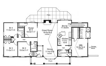 Perfect Home for a Large Family On a Budget (HWBDO76149) | Country House Plan from BuilderHousePlans.com