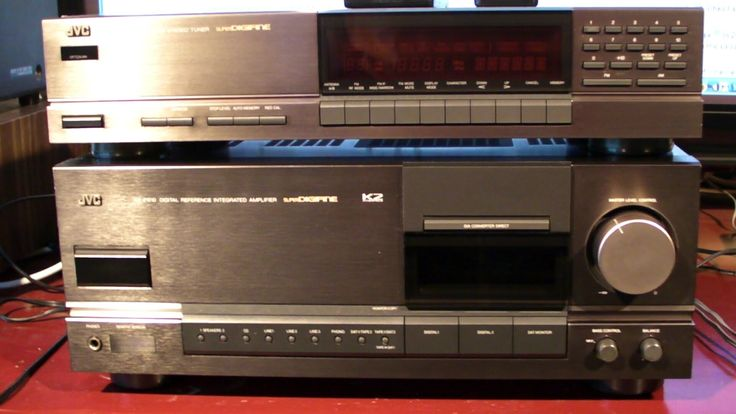 JVC AZ Z1010 & FX-1010  Power output: 100 watts per channel into 8Ω (stereo)  Frequency response: 5Hz to 100kHz  Total harmonic distortion: 0.004%  Damping factor: 200  Input sensitivity: 0.3mV (MC), 4mV (MM), 300mV (line)  Signal to noise ratio: 71dB (MC), 89dB (MM), 112dB (line)  Output: 300mV (line)  Digital inputs: coaxial, optical  Dimensions: 435 x 173 x 459mm  Weight: 16.8kg  Finish: titanium  Accessories: remote control  Year: 1989