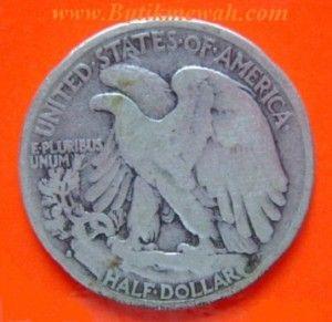 Koin perak kuno dari negara Amerika serikat lima puluh cents tahun 1933