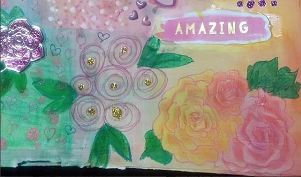 A detail from the journal page,my roses. #artjournal #spring #stickers #Sophie'sAtelier #amazing #spectacular #sparkle #attemptodobrushlettering #inspirationalquotes ️