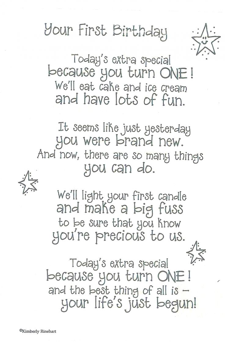 Here's a first birthday poem. Look for cards for all occasions in our Etsy shop: https://www.etsy.com/shop/LetterPerfectCards/about