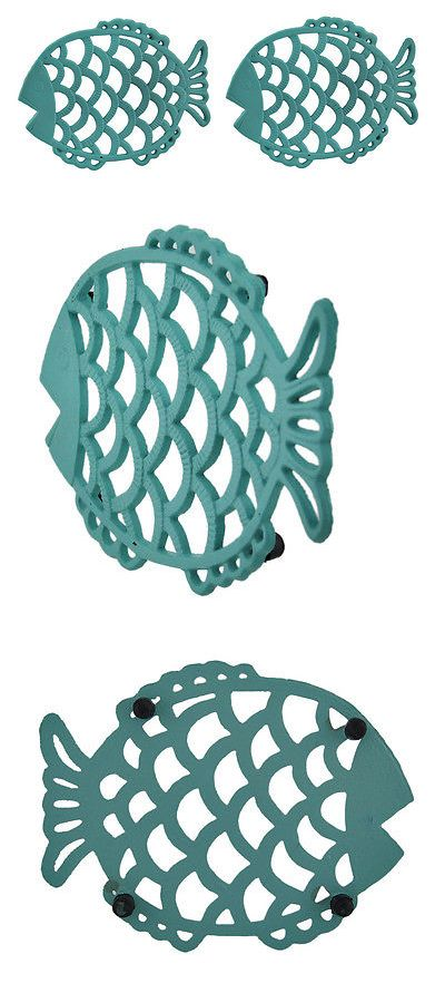 Trivets 32886: 2 Piece Tropical Turquoise Blue Cast Iron Filigree Fish Decorative Trivet Set -> BUY IT NOW ONLY: $35.99 on eBay!