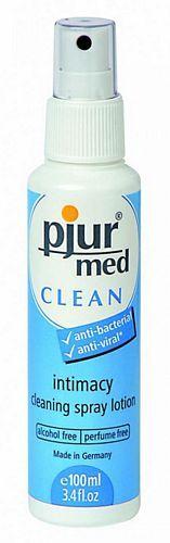 Pjur Med Clean spray - 100 ml fra Pjur - Sexlegetøj leveret for blot 29 kr. - 4ushop.dk - Pjur MED Clean spray til skånsom rengøring af alt sexlegetøj. Kan benyttes på alle typer materialer og beskytter dit sexlegetøj mod svampe og bakterier. Pjur med Clean spray er alkoholfri og uden parfume - kan også bruges til intimrengøring, men udelukkende til udvortes brug.