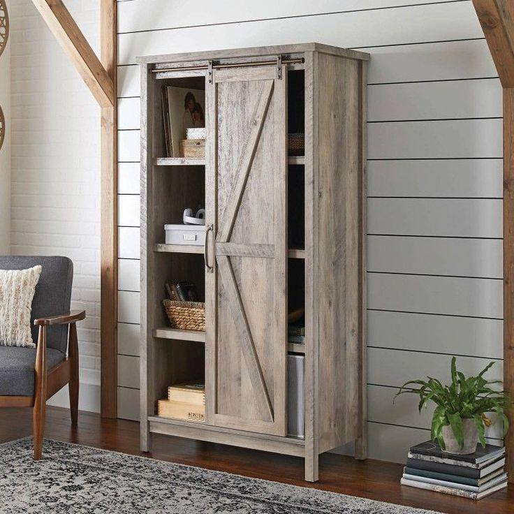 Rustic Home Storage Furniture Bookcase Entryway Cabinet Slide Door Retro Country #RusticHomeStorageFurniture #RusticPrimitive