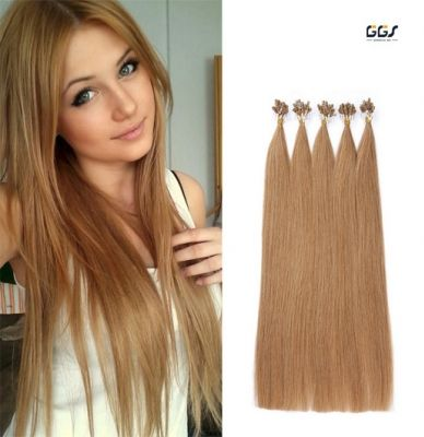 Micro Ring Hair Extensions #14 Dark Blonde Straight Wave Brazilian Hair Unprocessed Virgin Remy Nano Loop Hair Weaves 5A 100g