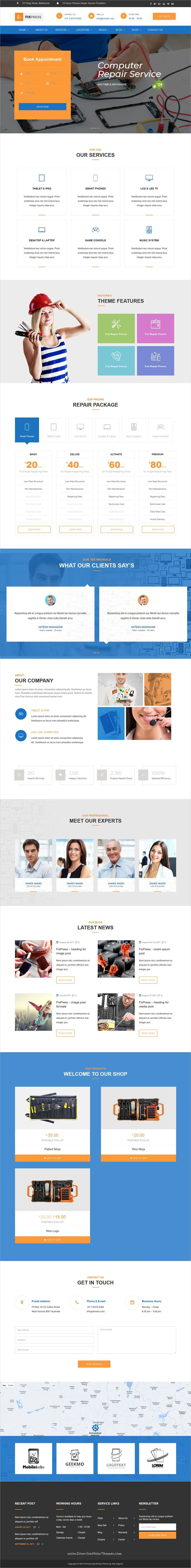 FixPress is clean and modern design 3in1 responsive #WordPress theme for mobile, #electronics and computer #repair shop website to live preview & download click on Visit