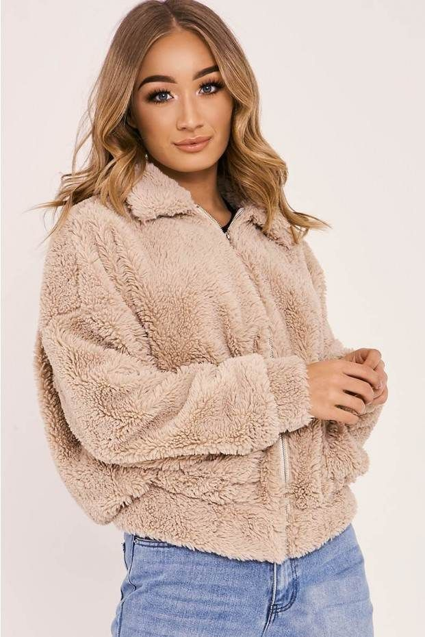 Camel Teddy Fur Bomber Jacket