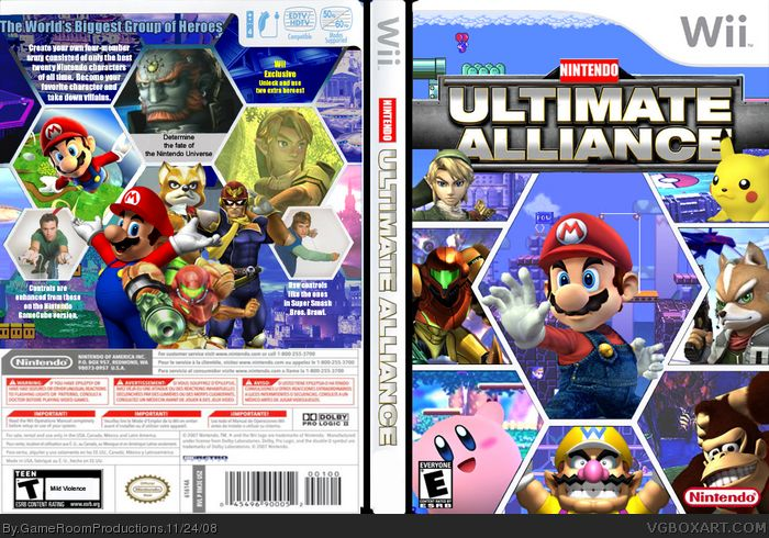 Nintendo Ultimate Alliance Wii Box Art Cover by GameRoomProductions