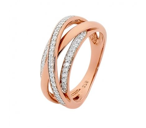Diamond Wire Ring with 0.25ct of Diamonds in 9ct Rose Gold.