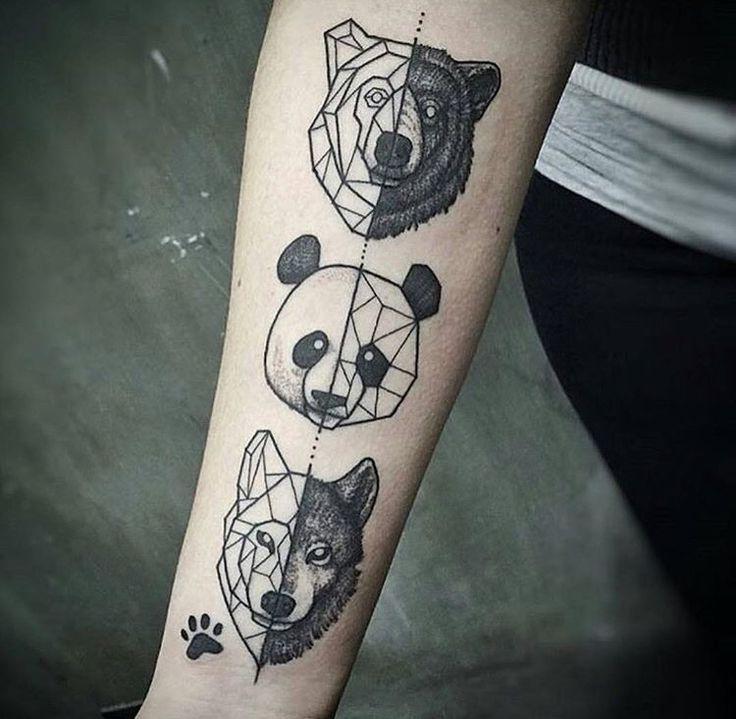 Sweaty wolf, panda and bear