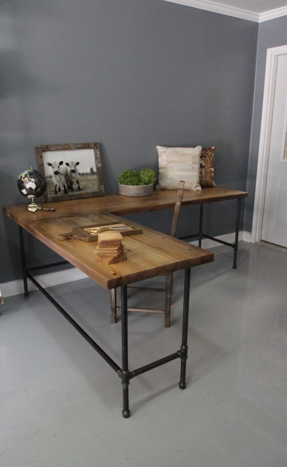Industrial L Shaped Desk Wood Desk Pipe Desk Reclaimed by DendroCo, $280.00 by carey