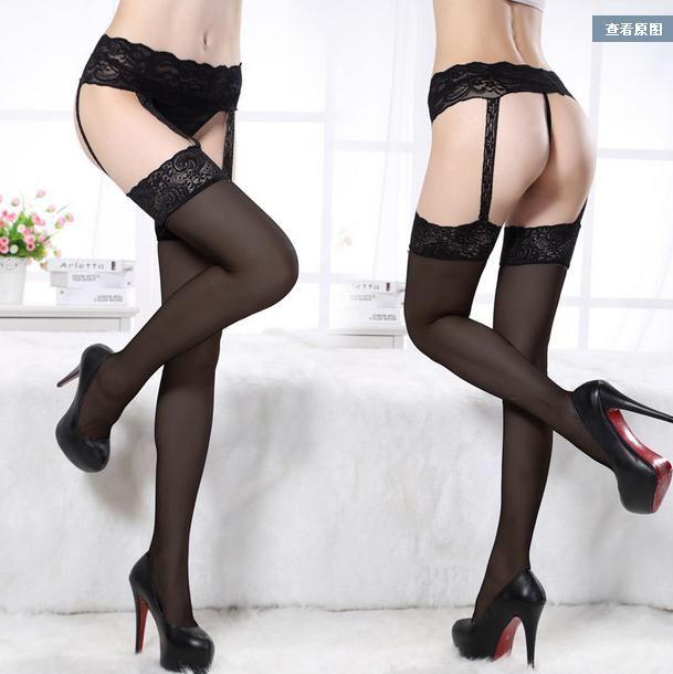 One Piece Lace Stockings + Garter Women Chicken Socks Thigh High Socks 4 Styles Porte Jarretelle Lingerie Sexy Hot Erotic WL239