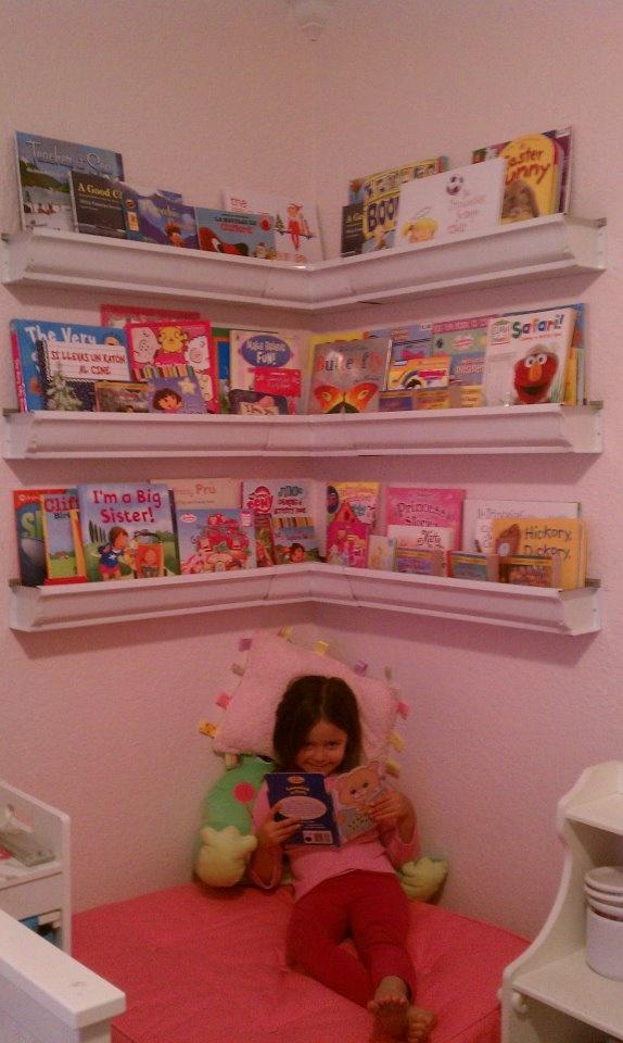 Aluminum gutter bookshelves for the new book nook.