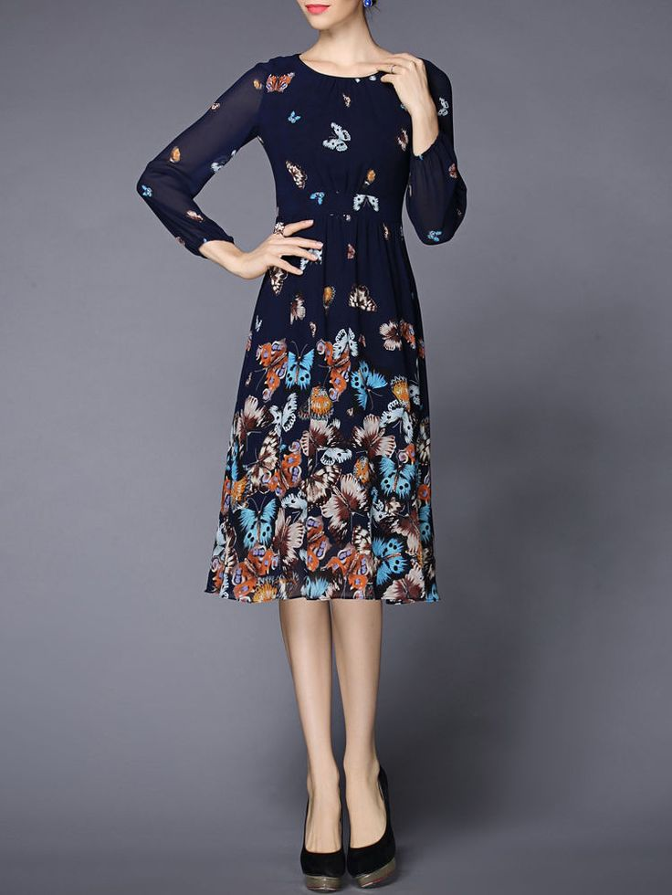 Blue Animal Print Long sleeve Swing Vintage Butterfly Printed Chiffon Midi Dress