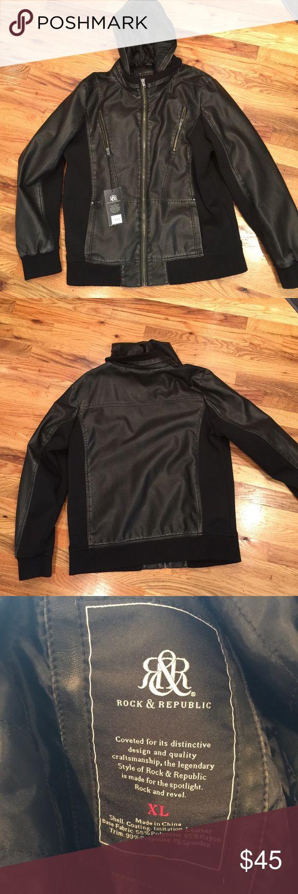 NWT Men's Rock & Republic faux leather jacket NWT Men's Rock & Republic faux leather jacket, size XL Rock & Republic Jackets & Coats Bomber & Varsity