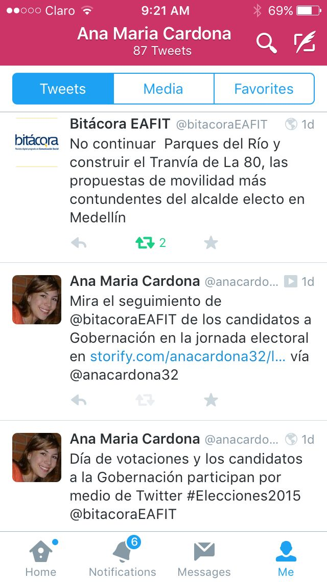 Estos son algunos tweets realizados durante el seguimiento realizado a los candidatos de Gobernación de Antioquia en 2015