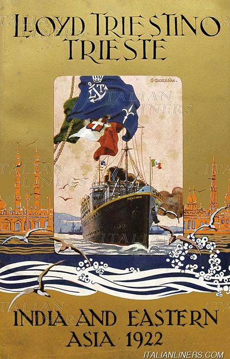 Travel Poster Lloyd Triestino Trieste 1922 firmato Giordani.