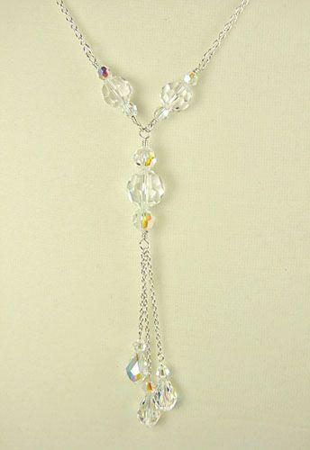 Swarovski Crystal Tassel Necklace - Clear AB Unique Handmade Jewelry