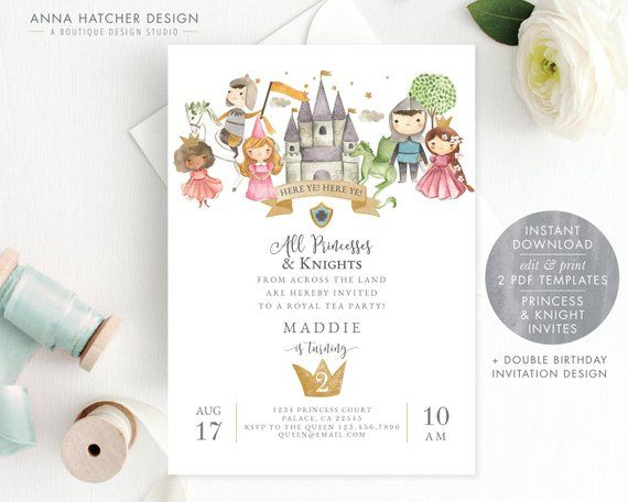 Princess And Knight Birthday Party Invitation Joint