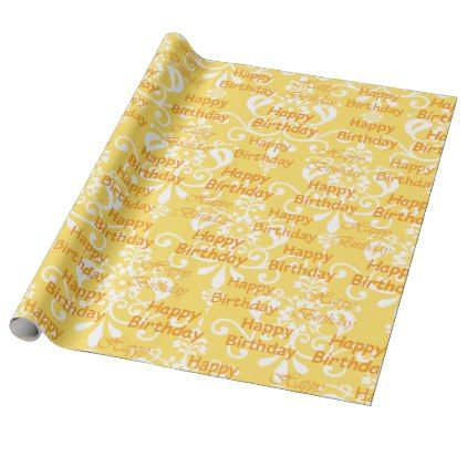 Orange and White Damask Happy Birthday Wrapping Paper - fun gifts funny diy customize personal