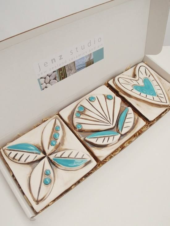 Jenz Studio 'Pacific Turquoise' set of three ceramic tiles, perfect for indoors or out, $99.90. #nzmade #ceramics #gift