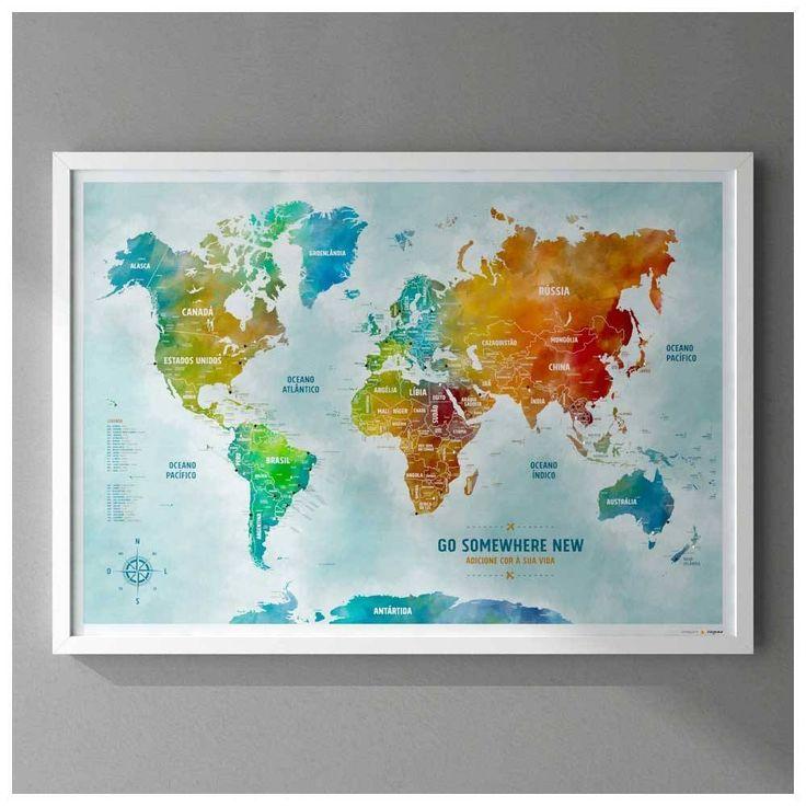 Pôster Premium - Mapa-Múndi Color A1 com Moldura + 100 Pins Alfinetes para Marcar os Lugares Visitados