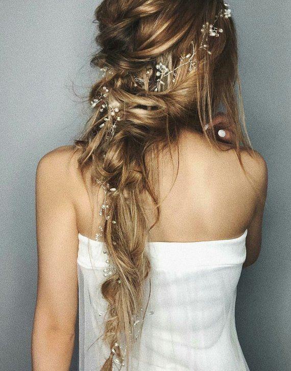 Extra Long Hair Vine Bridal Hair Vine Pearl Hair Vine Pearl Headband Bridal Headband Wedding Hairpie – Etsy
