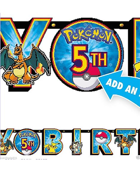 Pokemon Party Black/White 10 ft Jointed Banner