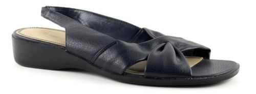 Women's NATURALIZER Black And Navy All Man Made Open Toe Flats Size 9W
