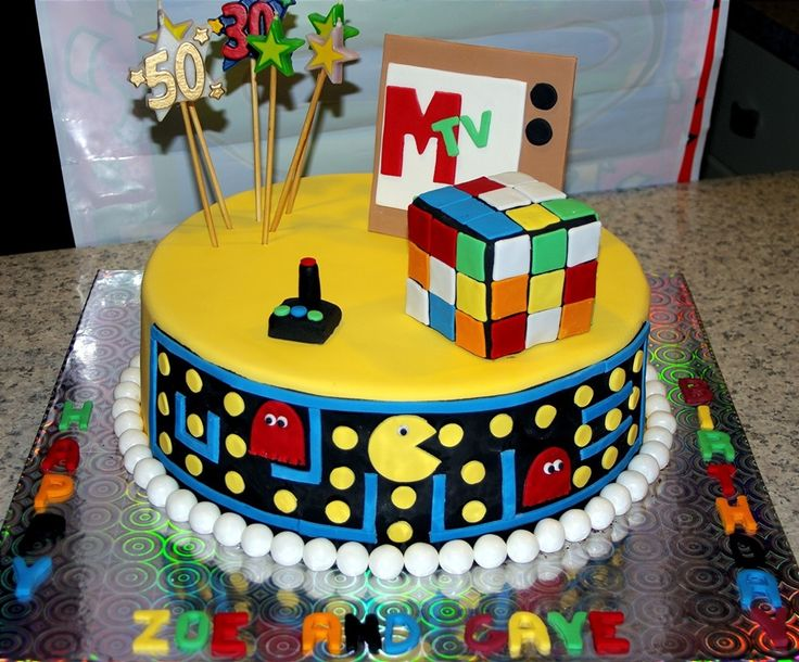 Groovy 80S Birthday Cake With Images Cool Birthday Cakes Birthday Funny Birthday Cards Online Barepcheapnameinfo