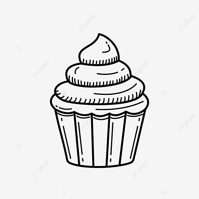 Cupcake Vector Illustration With Hand Drawn Style Black Line Cupcake Vector Illustration Dessert Clipart Cupcake Hand Drawn Png And Vector With Transparent B In 2021 Cupcake Vector How To Draw Hands