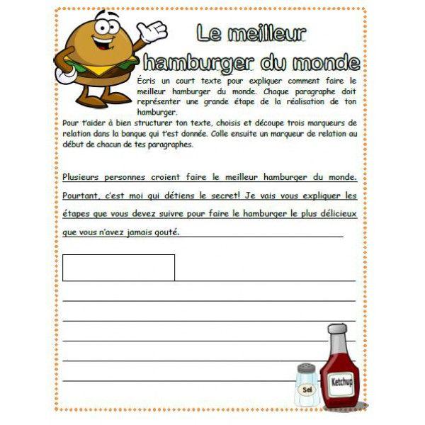 Petite activité d'écriture dans laquelle l'élève doit expliquer par étapes comment faire le meilleur hamburger du monde. Une banque de marqueurs de relation lui est fournie. Il doit choisir et découper un marqueur de relation qu'il viendra coller au début de chacun des paragraphes afin de bien structurer son texte.