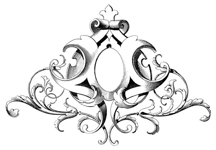 Scrolls Frame Ornament--The Graphics Fairy