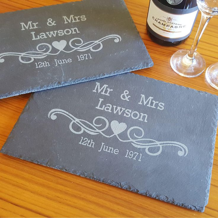 Personalised with your married names and wedding date to make them an extra special gift. Featuring a heart swirl design.Made from high quality slate with surface protectors to protect your furniture. Approximate size: 30 x 20 x 8mm. Price: £14.95