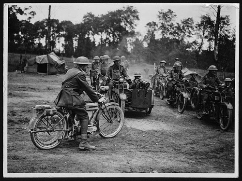 World War II troops on Motorcycles with Side pictures on our Pinterest page - http://pinterest.com/pin/504332858241700800/    Ride safe,    JB	  www.LightningCustoms.com Motorcycle Rallies Site  http://www.lightningcustoms.com