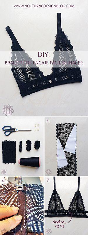 DIY bralette de encaje. DIY ropa. Costura fácil paso a paso. Tutorial de costur…