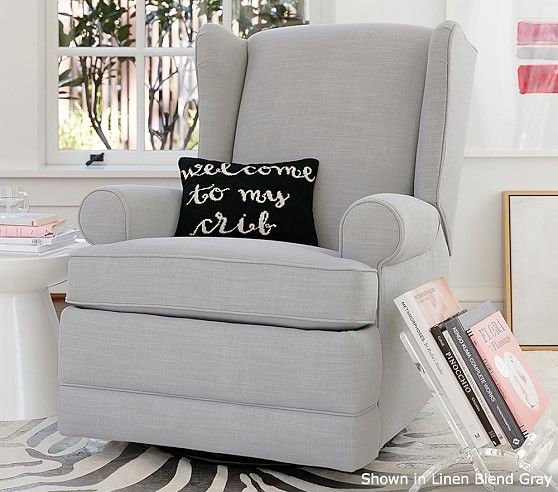 Wingback Rocker & Recliner | Pottery Barn Kids. I want Grey Linen.
