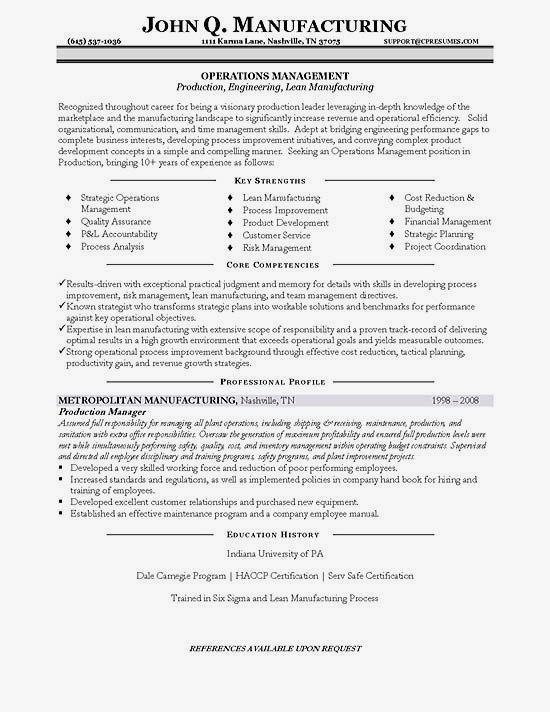 Manufacturing Resume Example Writing Samples Manager 18 Amazing Production Examples