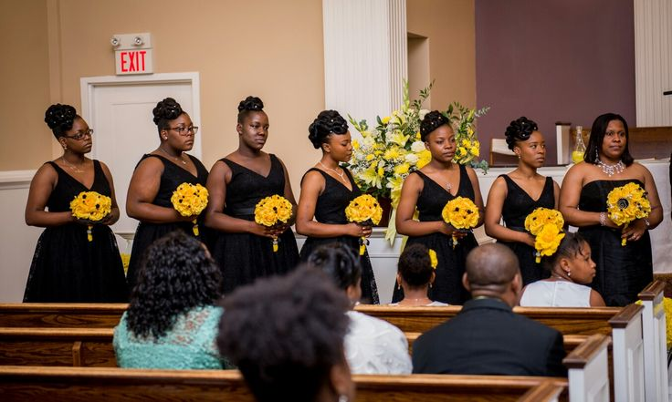 Black and yellow wedding bridal party. Bouquet by Yvana's decor